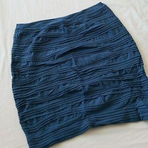FEATHERS Blue Nylon Mini Pencil Skirt